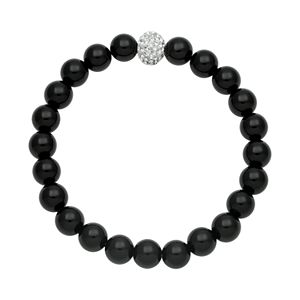 Onyx Bead and Simulated Crystal Stretch Bracelet