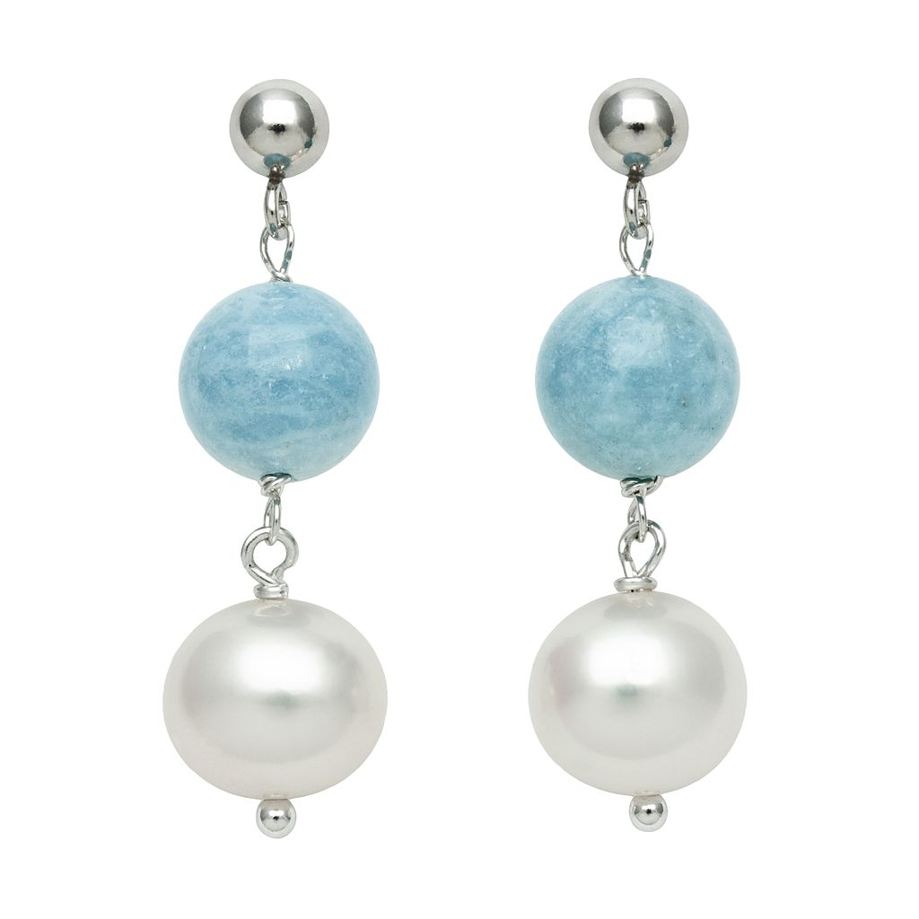 Sterling Silver Freshwater Cultured Pearl & Aquamarine Bead Linear Drop Earrings