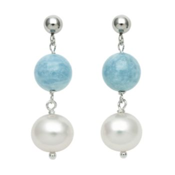 Sterling Silver Freshwater Cultured Pearl and Aquamarine Bead Linear Drop Earrings