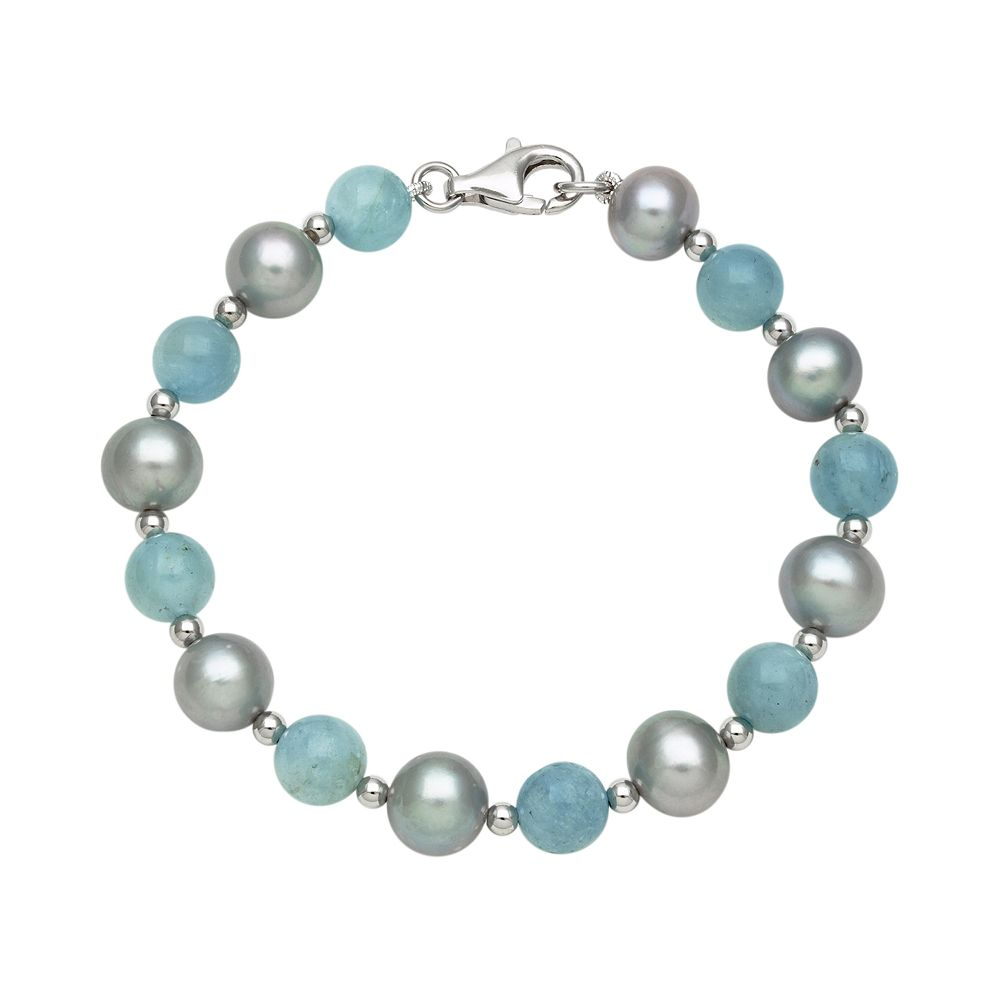 Sterling Silver Dyed Freshwater Cultured Pearl & Aquamarine Bead Bracelet