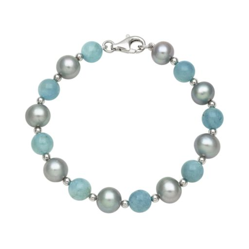 Sterling Silver Dyed Freshwater Cultured Pearl and Aquamarine Bead Bracelet