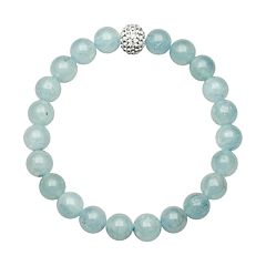 Aquamarine Bead & Simulated Crystal Stretch Bracelet