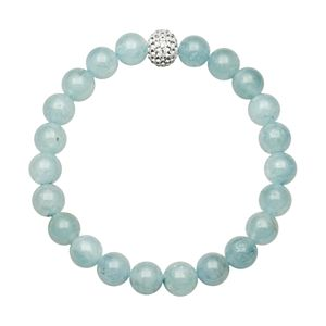 Aquamarine Bead and Simulated Crystal Stretch Bracelet