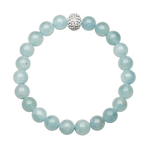 Aquamarine Bead & Simulated Crystal Stretch Bracelet