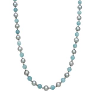 Sterling Silver Dyed Freshwater Cultured Pearl and Aquamarine Bead Necklace