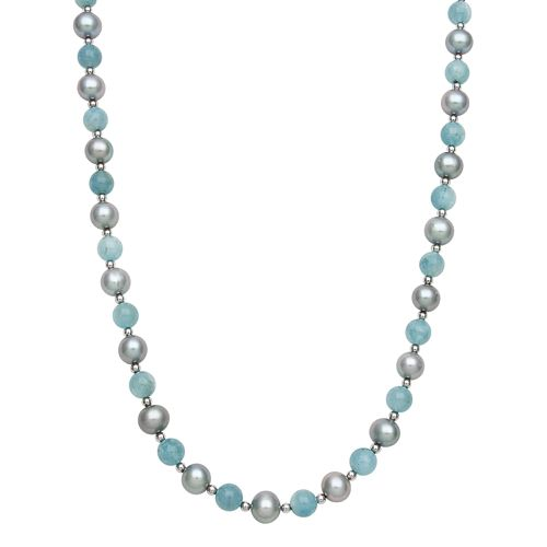 Sterling Silver Dyed Freshwater Cultured Pearl & Aquamarine Bead Necklace