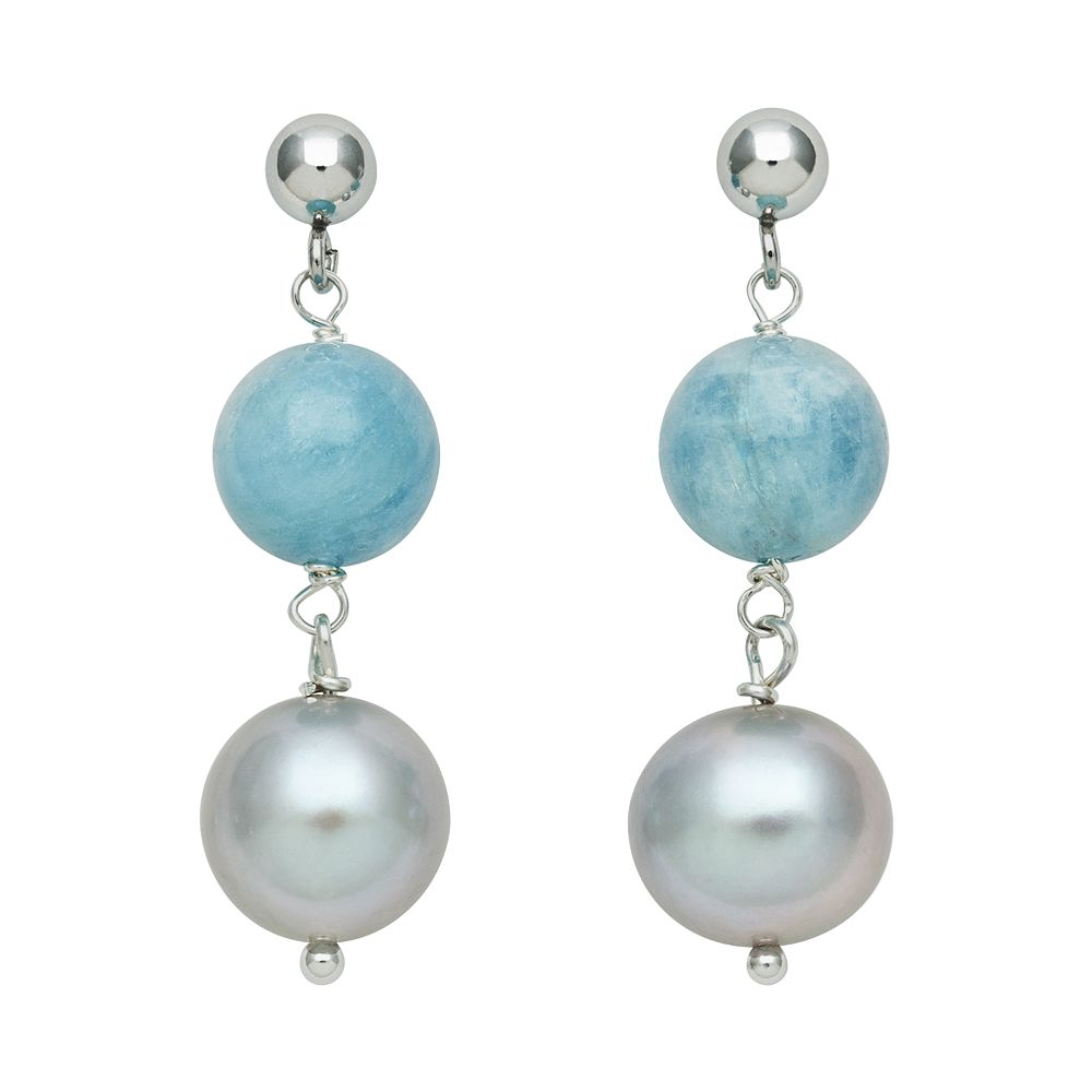 Sterling Silver Dyed Freshwater Cultured Pearl & Aquamarine Bead Linear Drop Earrings