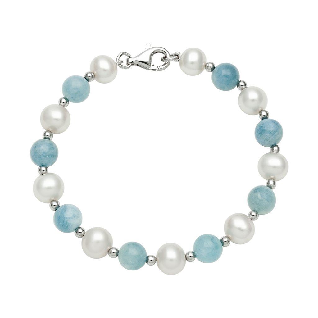 Sterling Silver Freshwater Cultured Pearl & Aquamarine Bead Bracelet