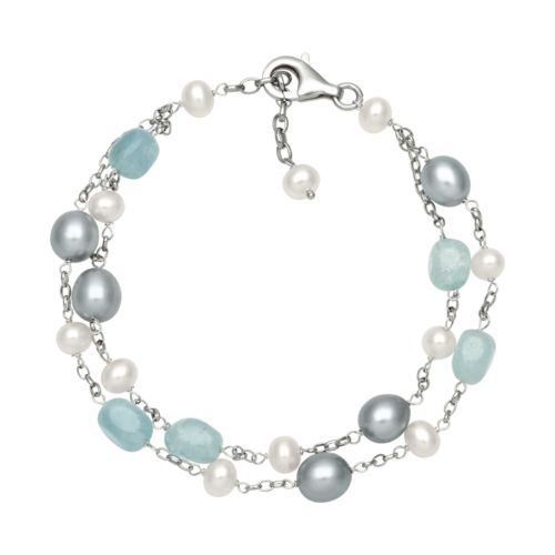 Sterling Silver Freshwater Cultured Pearl, Dyed Freshwater Cultured Pearl and Aquamarine Bead Bracelet