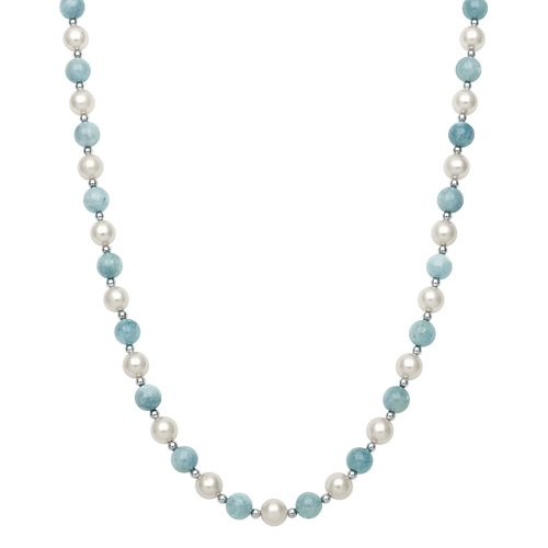Sterling Silver Freshwater Cultured Pearl & Aquamarine Bead Necklace