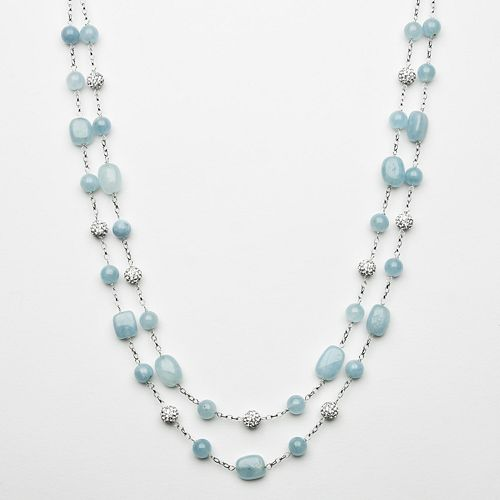 Sterling Silver Aquamarine Bead & Simulated Crystal Necklace