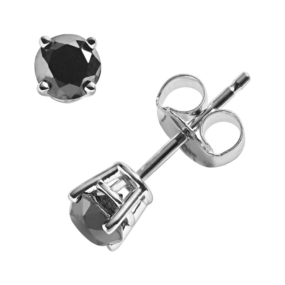 tw round w ct cut t aaa stud off black diamond earrings