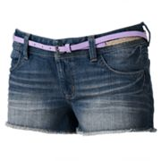 Mudd Frayed Denim Shortie Shorts - Juniors