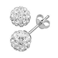 Silver Plated Crystal Ball Stud Earrings