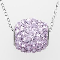 Silver Plated Lavender Crystal Spinner Pendant