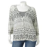 SONOMA life + style Chevron Cardigan - Women's Plus
