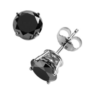 10k White Gold 2-ct. T.W. Black Round-Cut Diamond Solitaire Earrings