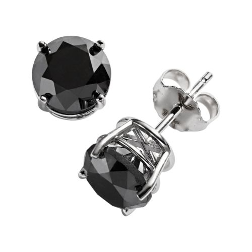 10k White Gold 3-ct. T.W. Black Round-Cut Diamond Solitaire Earrings