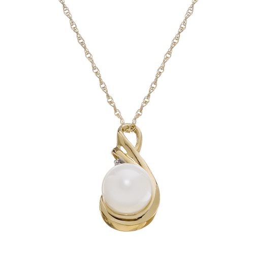 10k Gold Freshwater Cultured Pearl Swirl Pendant