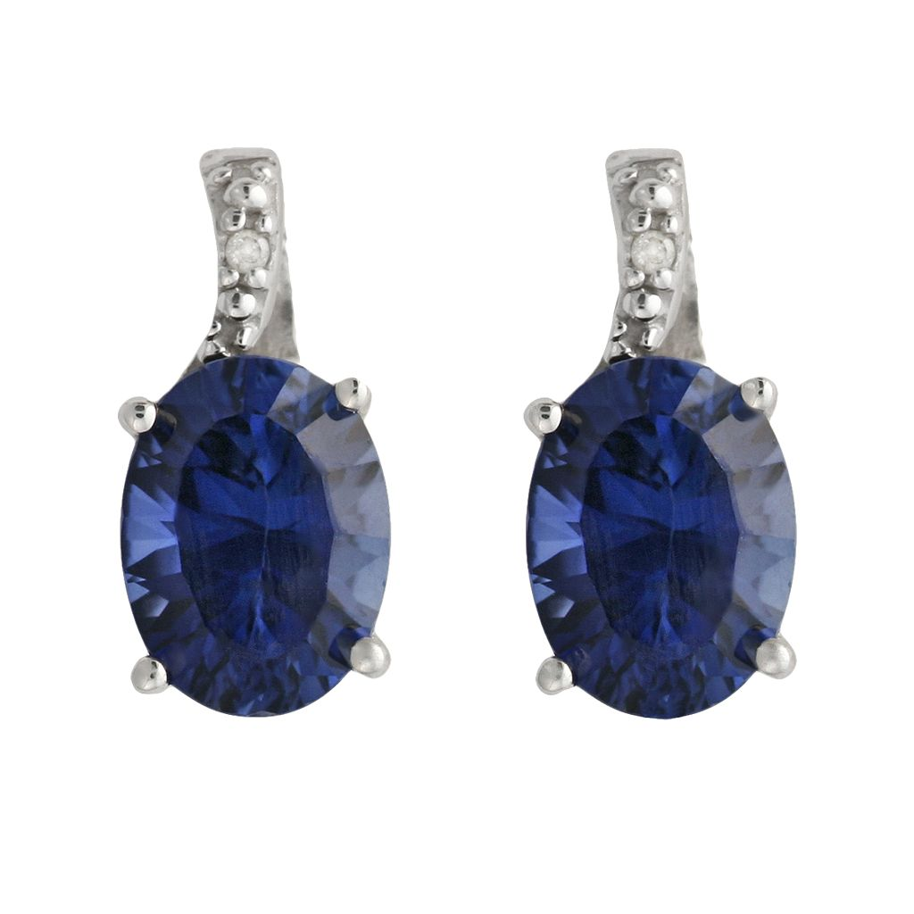 10k White Gold Lab-Created Sapphire & Diamond Accent Drop Earrings