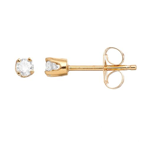 14k Gold 1/8 Carat T.W. Diamond Stud Earrings