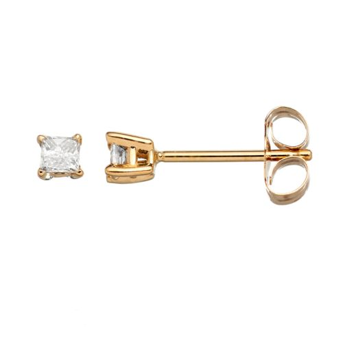 14k Gold 1/8-ct. T.W. Princess-Cut Diamond Stud Earrings