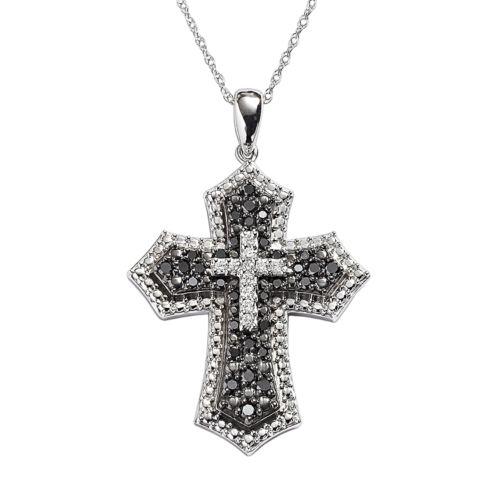 10k White Gold 1/2-ct. T.W. Black and White Diamond Cross Pendant