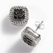 The HALO Collection 10k White Gold 1/2-ct. T.W. Black Diamond Frame Stud Earrings