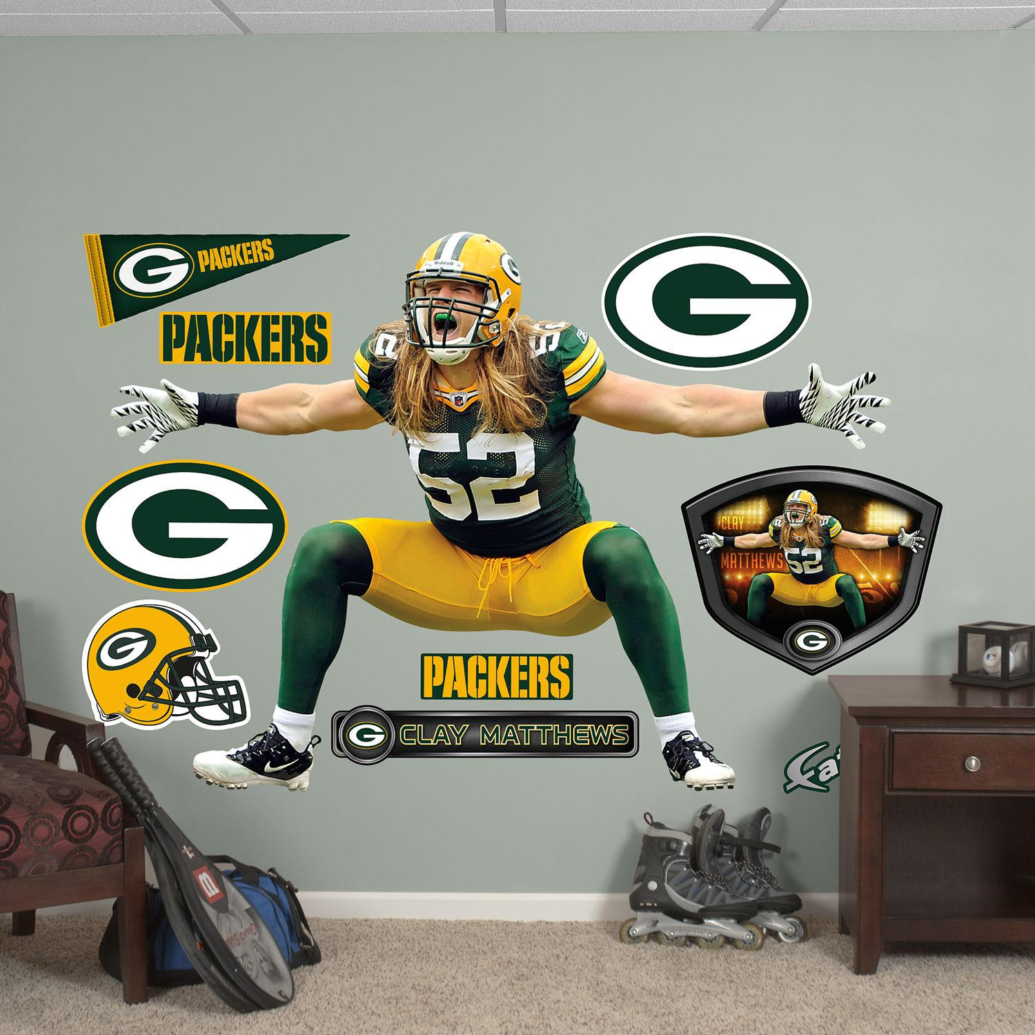 Beautiful Fathead Green Bay Packers Clay Matthews 10 Piece Wall Decals Part 16