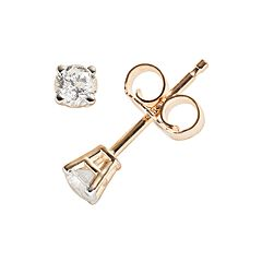 14k Gold 1/5 ctT.W. Round-Cut Diamond Solitaire Earrings