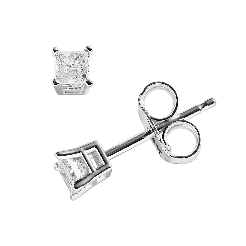 14k White Gold 1/5-ct. T.W. Princess-Cut Diamond Solitaire Earrings
