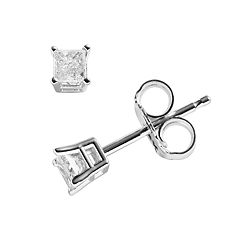 14k White Gold 1/5 ctT.W. Princess-Cut Diamond Solitaire Earrings