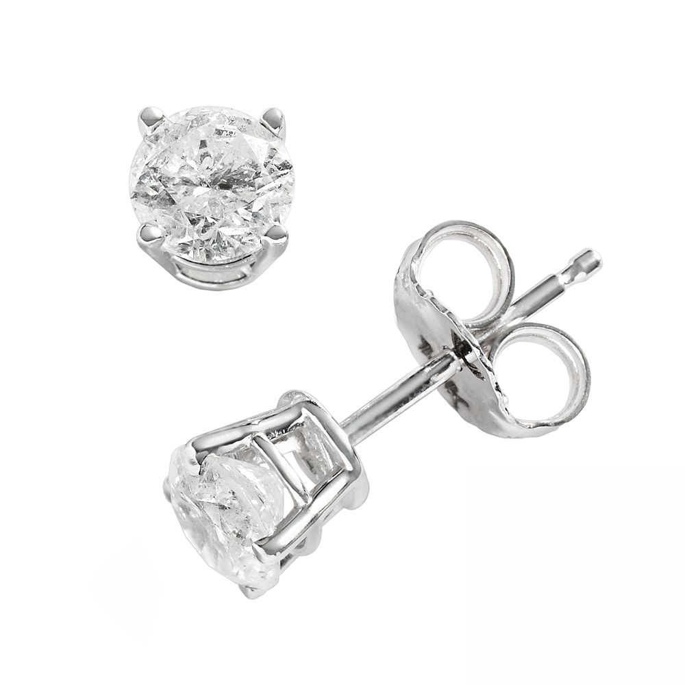 T W Round Cut Diamond Solitaire Earrings