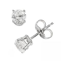 14k White Gold 3/4 ctT.W. Round-Cut Diamond Solitaire Earrings