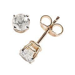 14k Gold 3/4 ctT.W. Round-Cut Diamond Solitaire Earrings