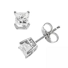 14k White Gold 3/4 ctT.W. Princess-Cut Diamond Solitaire Earrings