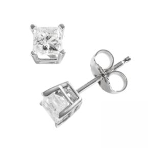 14k White Gold 3/4-ct. T.W. Princess-Cut Diamond Solitaire Earrings