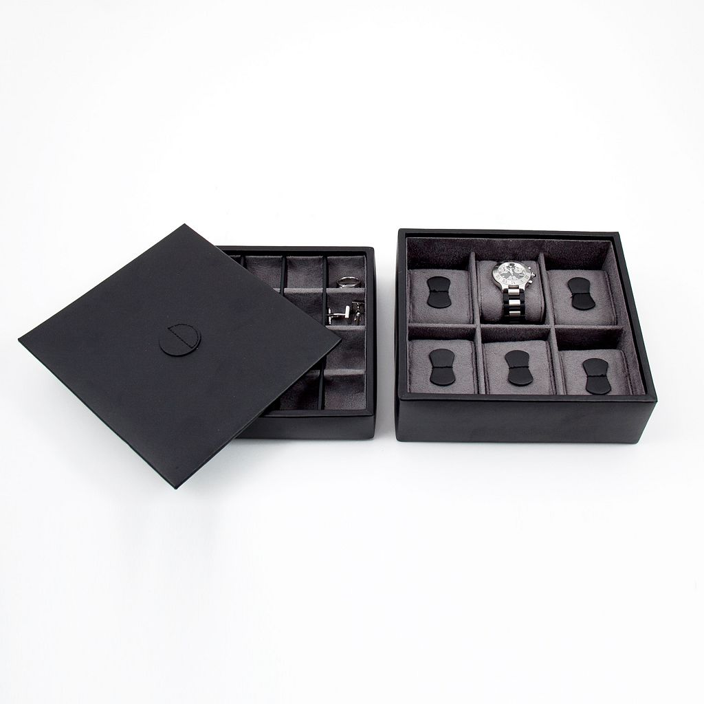 Watch and Cuff Link Leather Box