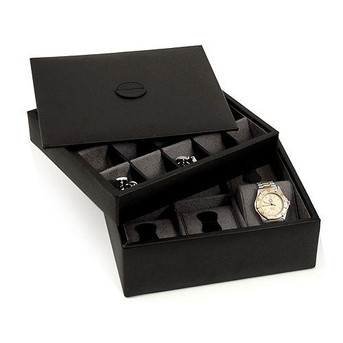 Watch & Cuff Link Leather Box
