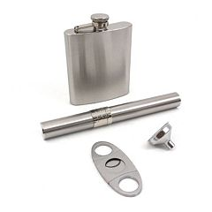 4 pc Stainless Steel Flask & Cigar Case