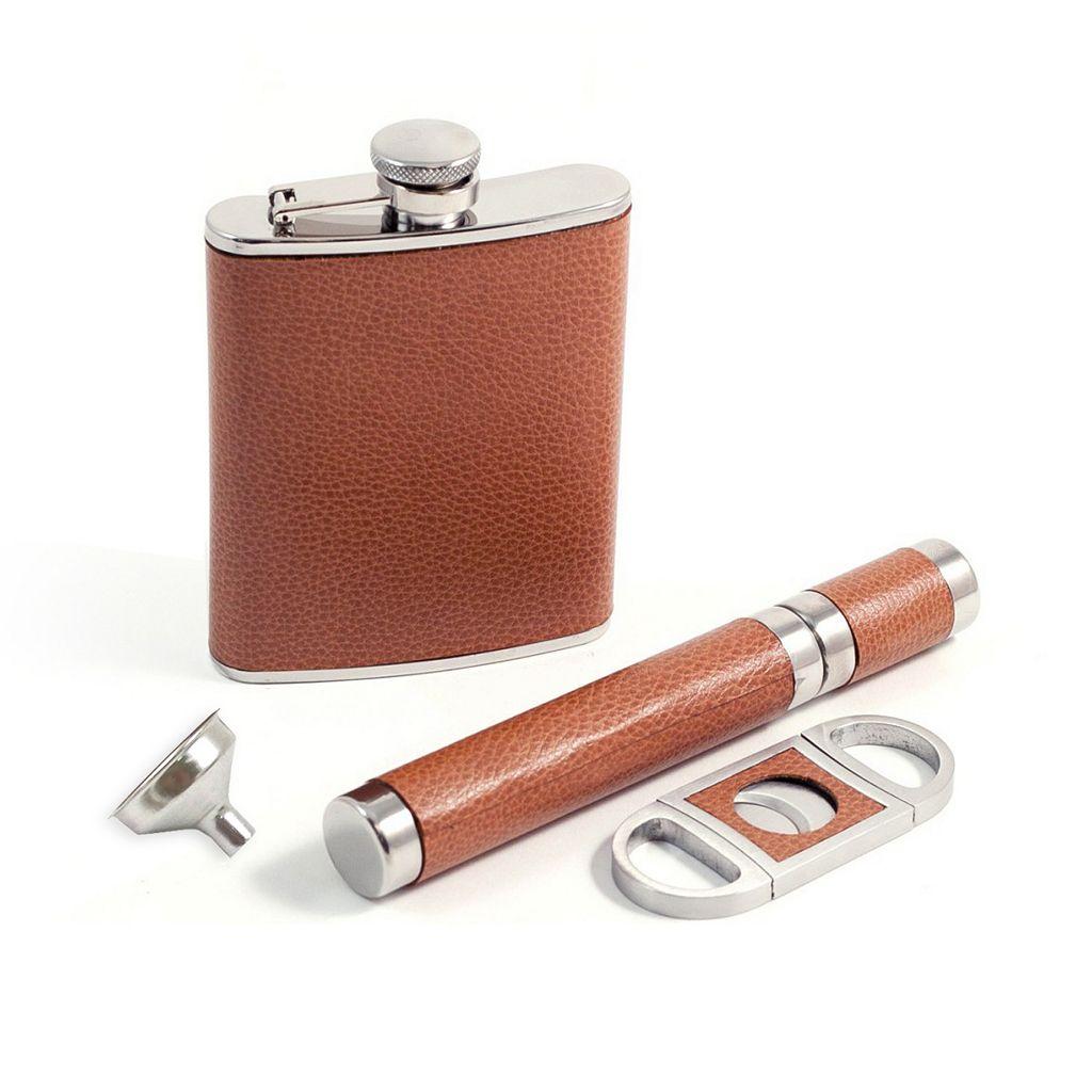 3-pc. Leather Flask & Cigar Set
