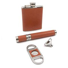 3-pc. Leather Flask & Cigar Set