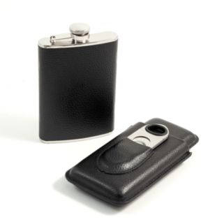 3-pc. Leather Flask and Cigar Case Set