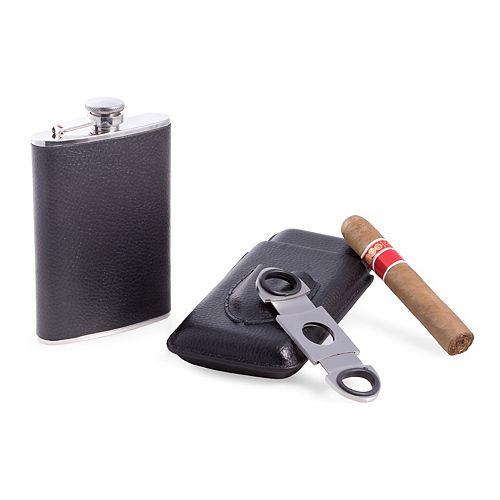 3-pc. Leather Flask & Cigar Case Set