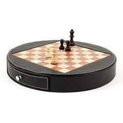 Wood & Leather Chess Set
