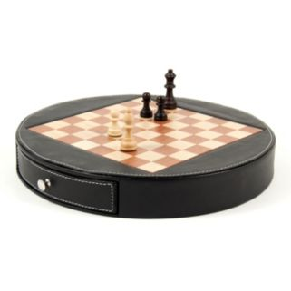 Wood and Leather Chess Set