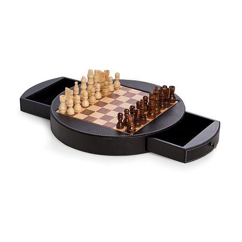 Wood & Leather Chess Set