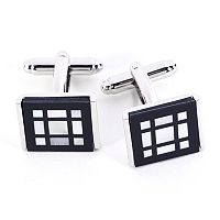 Rhodium-Plated Square Pattern Cuff Links