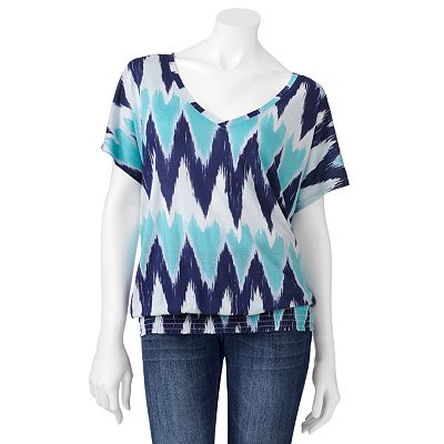 Mudd Abstract Smocked Bottom Top - Juniors