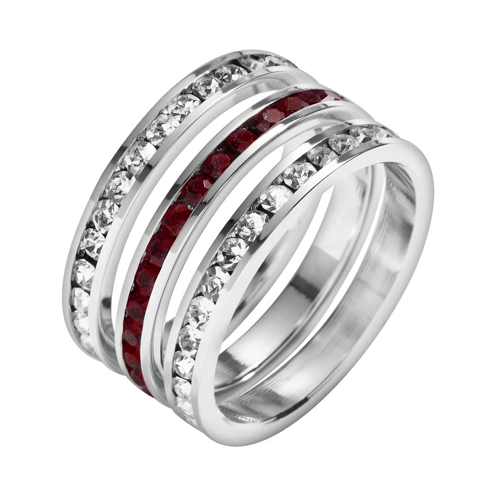 Traditions Sterling Silver Crystal Eternity Ring Set